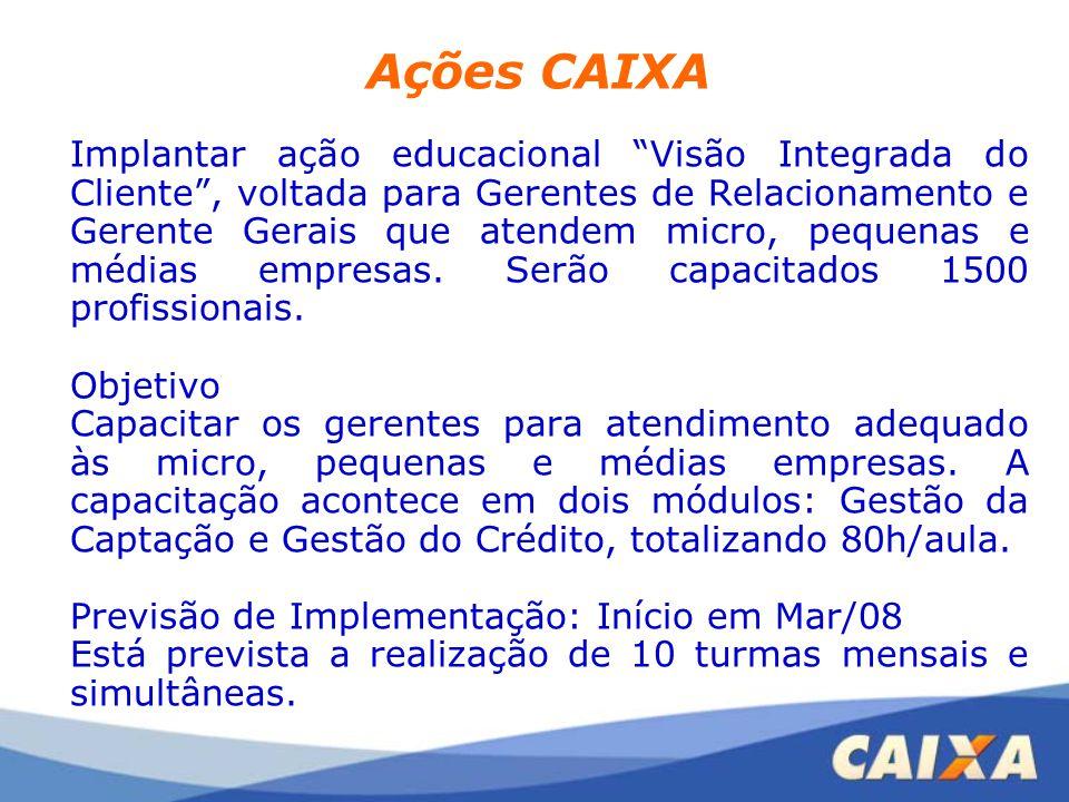 """Ações CAIXA Implantar ação educacional """"Visão Integrada do Cliente"""", voltada para Gerentes de Relacionamento e Gerente Gerais que atendem micro, peque"""