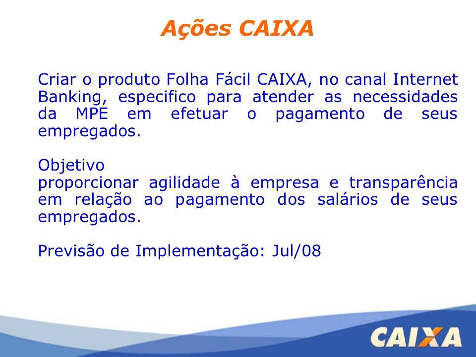 Ações CAIXA Criar o produto Folha Fácil CAIXA, no canal Internet Banking, especifico para atender as necessidades da MPE em efetuar o pagamento de seu
