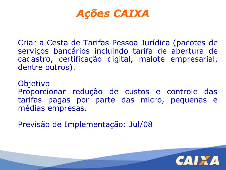Ações CAIXA Criar a Cesta de Tarifas Pessoa Jurídica (pacotes de serviços bancários incluindo tarifa de abertura de cadastro, certificação digital, ma