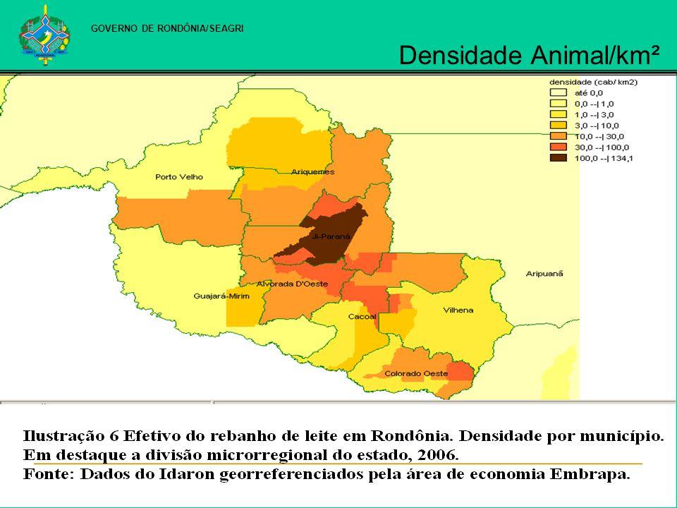 GOVERNO DE RONDÔNIA/SEAGRI Densidade Animal/km²