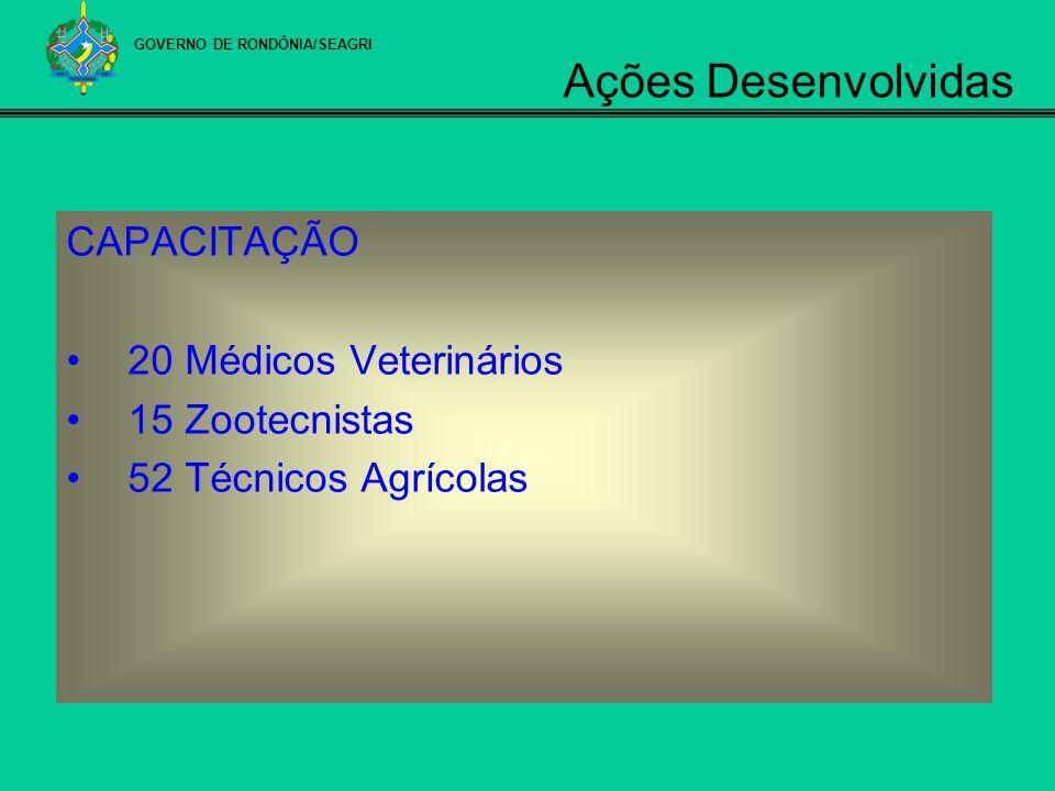 CAPACITAÇÃO 20 Médicos Veterinários 15 Zootecnistas 52 Técnicos Agrícolas GOVERNO DE RONDÔNIA/SEAGRI Ações Desenvolvidas