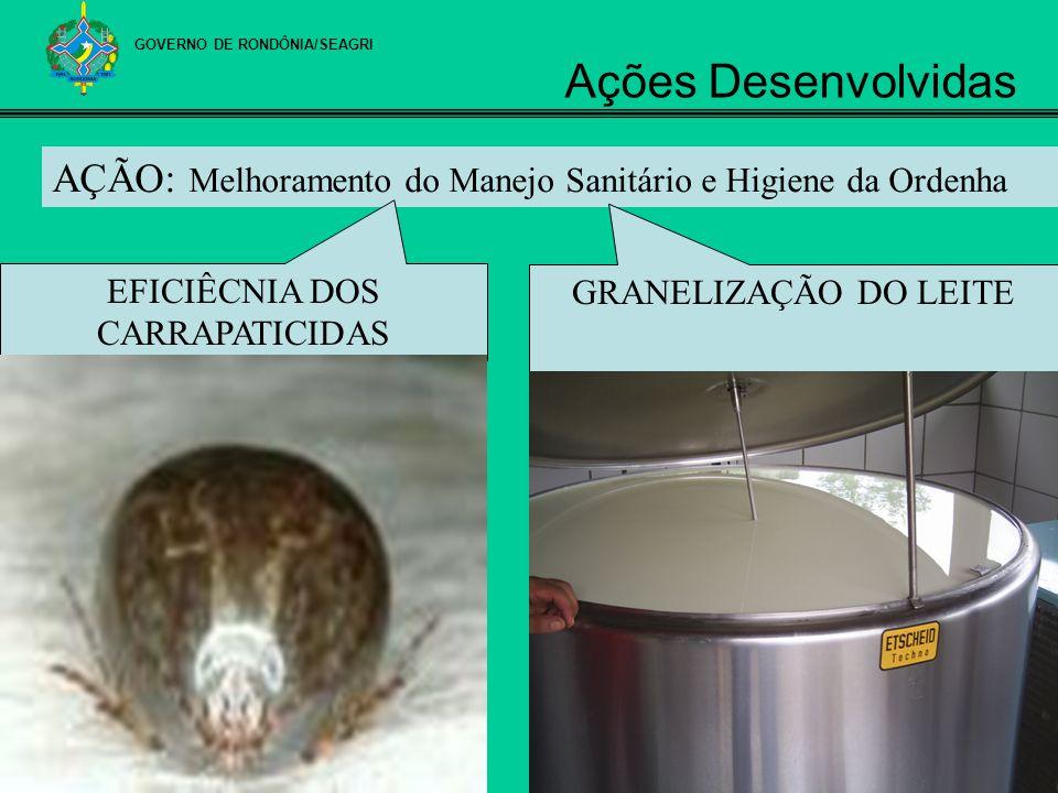 AÇÃO: Melhoramento do Manejo Sanitário e Higiene da Ordenha GRANELIZAÇÃO DO LEITE EFICIÊCNIA DOS CARRAPATICIDAS GOVERNO DE RONDÔNIA/SEAGRI Ações Desen