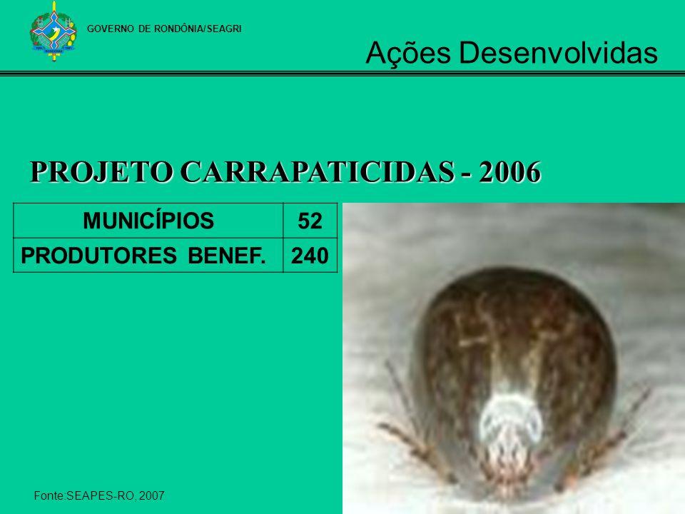 MUNICÍPIOS52 PRODUTORES BENEF.240 PROJETO CARRAPATICIDAS - 2006 Fonte:SEAPES-RO, 2007 GOVERNO DE RONDÔNIA/SEAGRI Ações Desenvolvidas