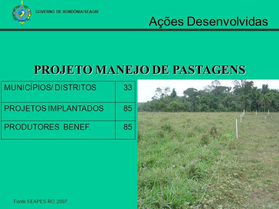 PROJETO MANEJO DE PASTAGENS MUNICÍPIOS/ DISTRITOS33 PROJETOS IMPLANTADOS85 PRODUTORES BENEF.85 Fonte:SEAPES-RO, 2007 GOVERNO DE RONDÔNIA/SEAGRI Ações