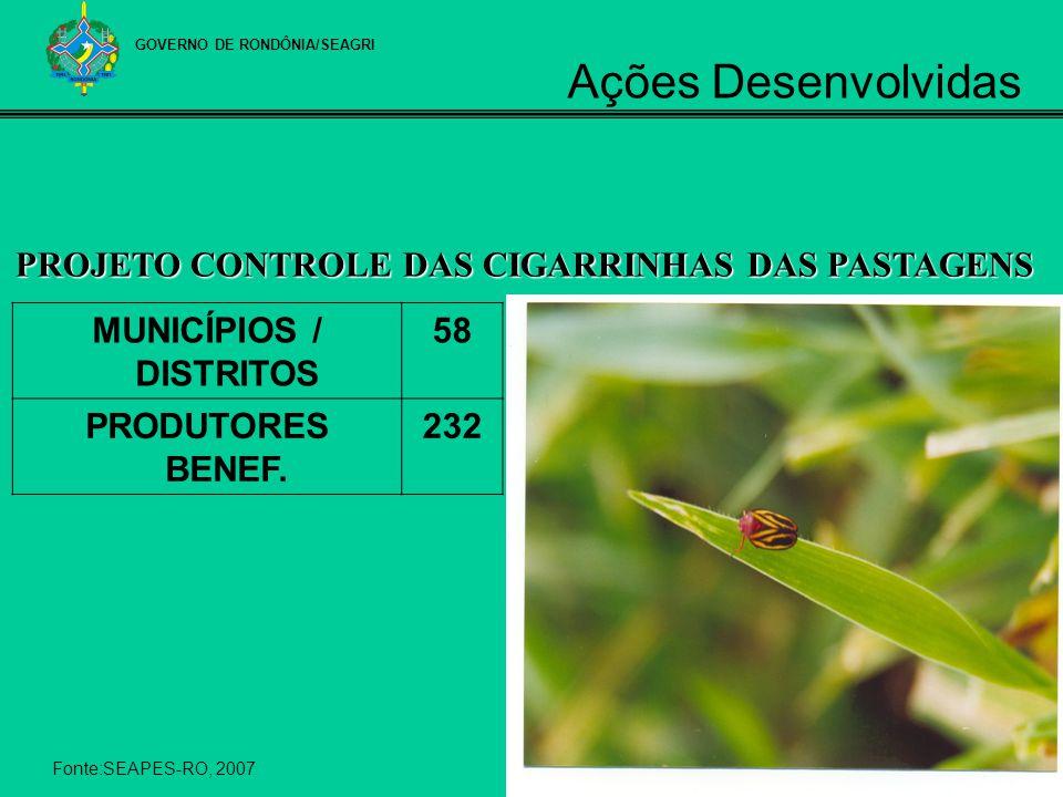 MUNICÍPIOS / DISTRITOS 58 PRODUTORES BENEF. 232 PROJETO CONTROLE DAS CIGARRINHAS DAS PASTAGENS Fonte:SEAPES-RO, 2007 GOVERNO DE RONDÔNIA/SEAGRI Ações