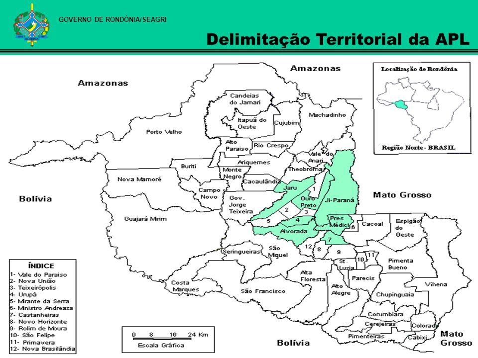 Município Produção de Leite (mil litros) Município/Estado % Jaru68.00110,66 Ouro Preto do Oeste63.2569,92 Ji-Paraná34.1765,36 Alvorada do Oeste28.4304,46 Urupá26.1664,10 Presidente Médici21.9733,45 Castanheiras2.7050,42 TOTAL244.70738,37 RONDÔNIA637.355100,00 Fonte: IBGE - Pesquisa da Pecuária Municipal – 2006 GOVERNO DE RONDÔNIA/SEAGRI Produção Municípios APL versus Estado