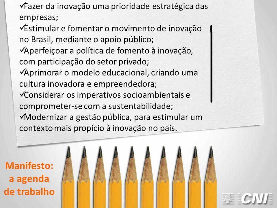 Fazer da inovação uma prioridade estratégica das empresas; Estimular e fomentar o movimento de inovação no Brasil, mediante o apoio público; Aperfeiçoar a política de fomento à inovação, com participação do setor privado; Aprimorar o modelo educacional, criando uma cultura inovadora e empreendedora; Considerar os imperativos socioambientais e comprometer-se com a sustentabilidade; Modernizar a gestão pública, para estimular um contexto mais propício à inovação no país.