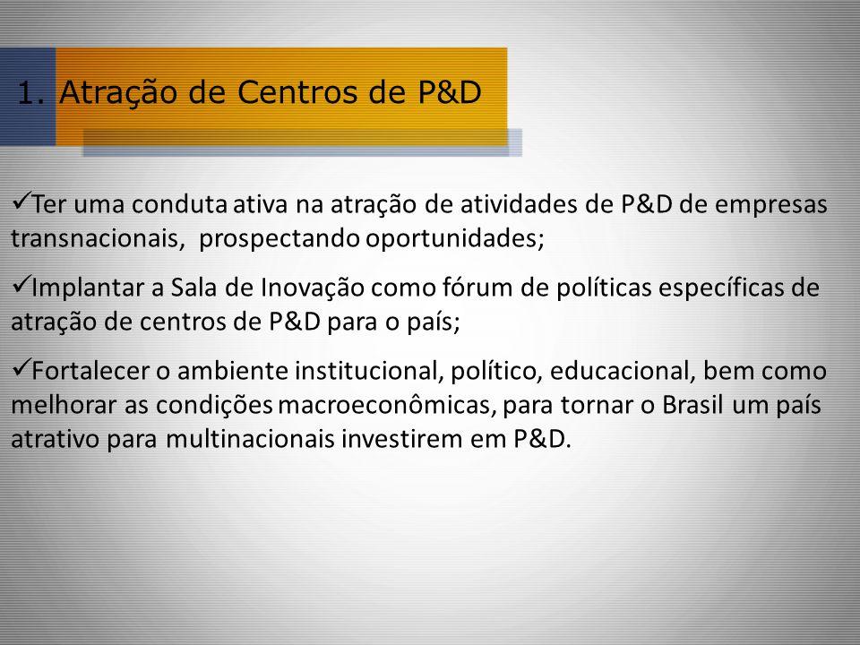 Atração de Centros de P&D Ter uma conduta ativa na atração de atividades de P&D de empresas transnacionais, prospectando oportunidades; Implantar a Sala de Inovação como fórum de políticas específicas de atração de centros de P&D para o país; Fortalecer o ambiente institucional, político, educacional, bem como melhorar as condições macroeconômicas, para tornar o Brasil um país atrativo para multinacionais investirem em P&D.