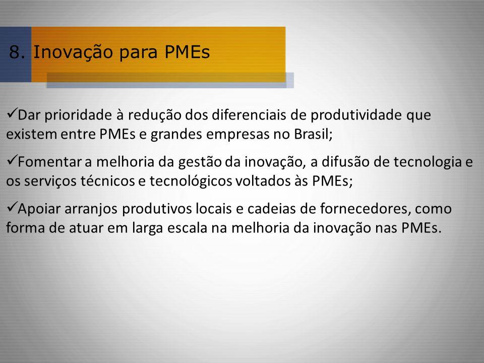 Inovação para PMEs Dar prioridade à redução dos diferenciais de produtividade que existem entre PMEs e grandes empresas no Brasil; Fomentar a melhoria