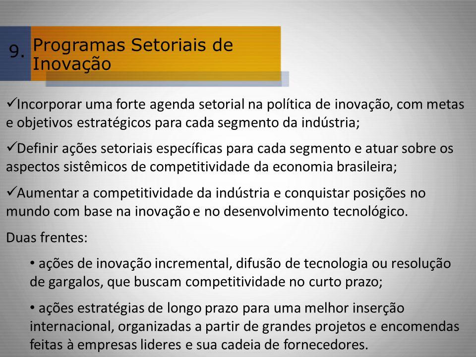 Programas Setoriais de Inovação Incorporar uma forte agenda setorial na política de inovação, com metas e objetivos estratégicos para cada segmento da indústria; Definir ações setoriais específicas para cada segmento e atuar sobre os aspectos sistêmicos de competitividade da economia brasileira; Aumentar a competitividade da indústria e conquistar posições no mundo com base na inovação e no desenvolvimento tecnológico.