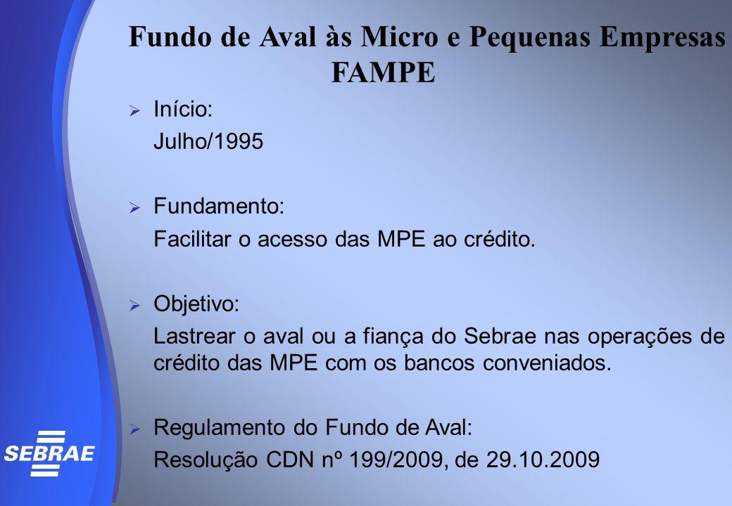 Fundo de Aval às Micro e Pequenas Empresas FAMPE  Início: Julho/1995  Fundamento: Facilitar o acesso das MPE ao crédito.  Objetivo: Lastrear o aval