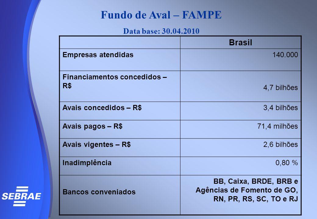 Fundo de Aval – FAMPE Data base: 30.04.2010 Brasil Empresas atendidas140.000 Financiamentos concedidos – R$ 4,7 bilhões Avais concedidos – R$3,4 bilhõ