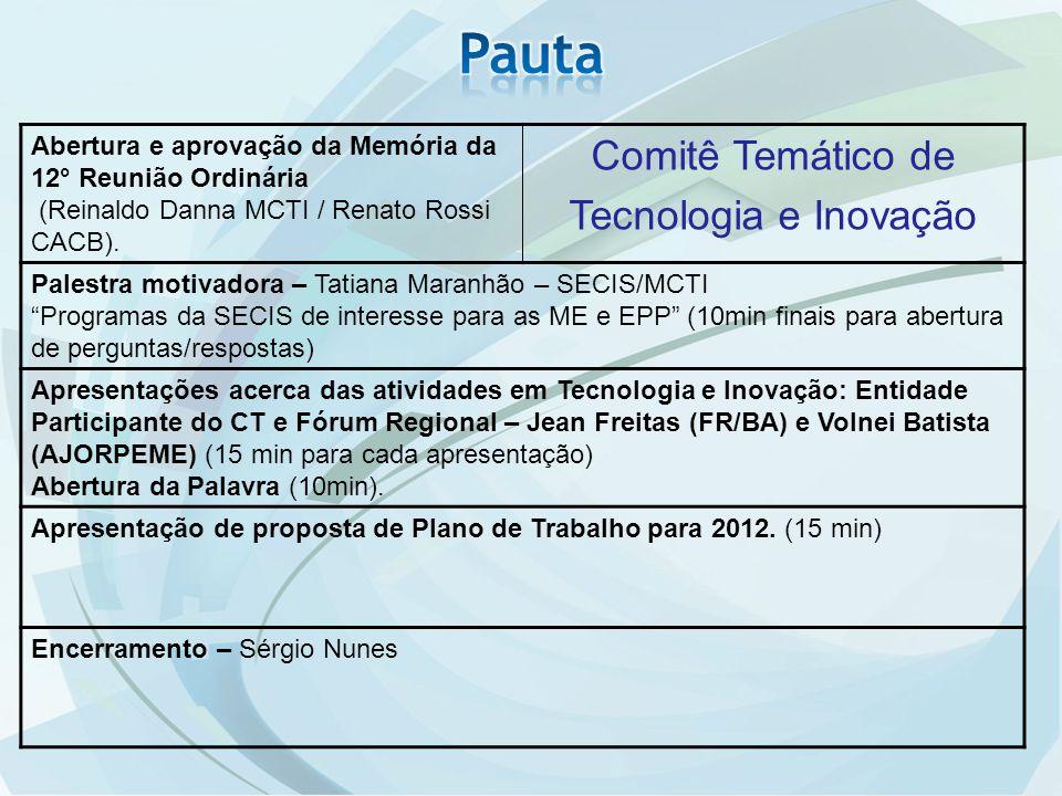 Abertura e aprovação da Memória da 12° Reunião Ordinária (Reinaldo Danna MCTI / Renato Rossi CACB). Comitê Temático de Tecnologia e Inovação Palestra
