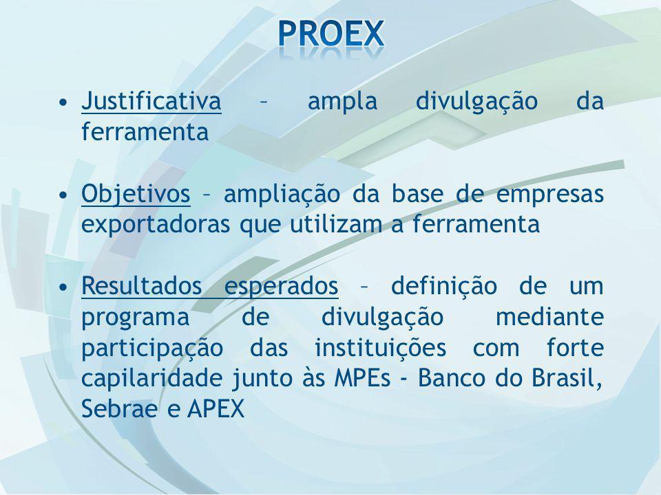 Justificativa – ampla divulgação da ferramenta Objetivos – ampliação da base de empresas exportadoras que utilizam a ferramenta Resultados esperados – definição de um programa de divulgação mediante participação das instituições com forte capilaridade junto às MPEs - Banco do Brasil, Sebrae e APEX