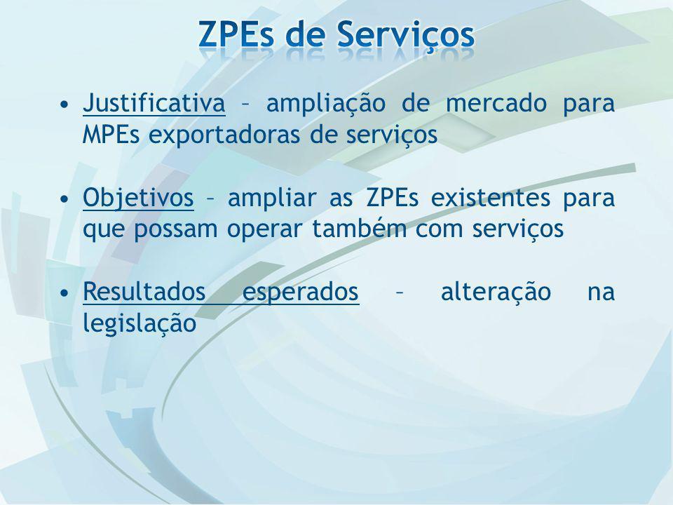 Justificativa – ampliação de mercado para MPEs exportadoras de serviços Objetivos – ampliar as ZPEs existentes para que possam operar também com serviços Resultados esperados – alteração na legislação