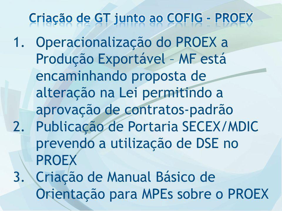 1.Operacionalização do PROEX a Produção Exportável – MF está encaminhando proposta de alteração na Lei permitindo a aprovação de contratos-padrão 2.Publicação de Portaria SECEX/MDIC prevendo a utilização de DSE no PROEX 3.Criação de Manual Básico de Orientação para MPEs sobre o PROEX