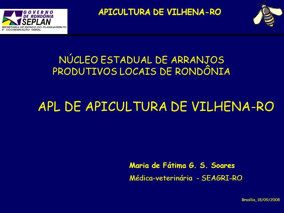 APICULTURA DE VILHENA-RO Maria de Fátima G. S. Soares Médica-veterinária - SEAGRI-RO Brasília, 18/09/2008 NÚCLEO ESTADUAL DE ARRANJOS PRODUTIVOS LOCAI