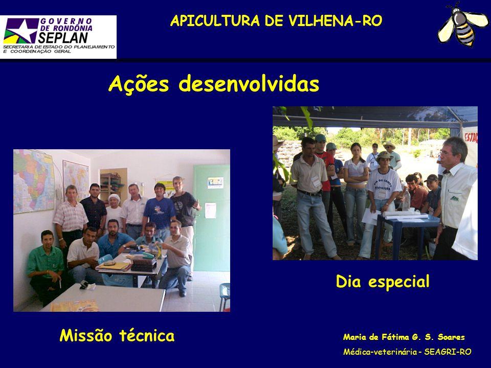 APICULTURA DE VILHENA-RO Maria de Fátima G. S. Soares Médica-veterinária - SEAGRI-RO Missão técnica Ações desenvolvidas Dia especial