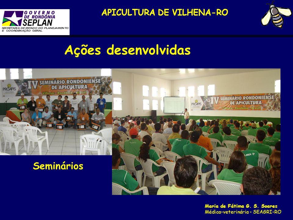 APICULTURA DE VILHENA-RO Maria de Fátima G. S. Soares Médica-veterinária - SEAGRI-RO Seminários Ações desenvolvidas