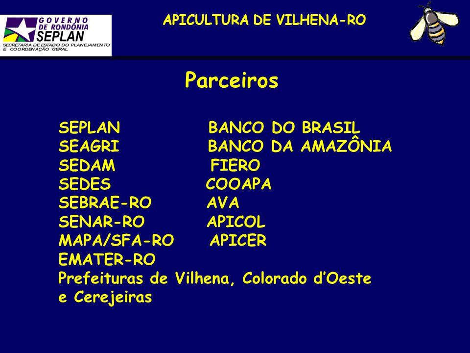 APICULTURA DE VILHENA-RO Parceiros SEPLAN BANCO DO BRASIL SEAGRI BANCO DA AMAZÔNIA SEDAM FIERO SEDES COOAPA SEBRAE-RO AVA SENAR-RO APICOL MAPA/SFA-RO