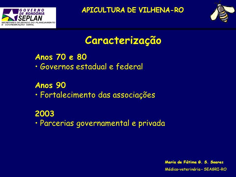 APICULTURA DE VILHENA-RO Maria de Fátima G. S. Soares Médica-veterinária - SEAGRI-RO Anos 70 e 80 Governos estadual e federal Anos 90 Fortalecimento d