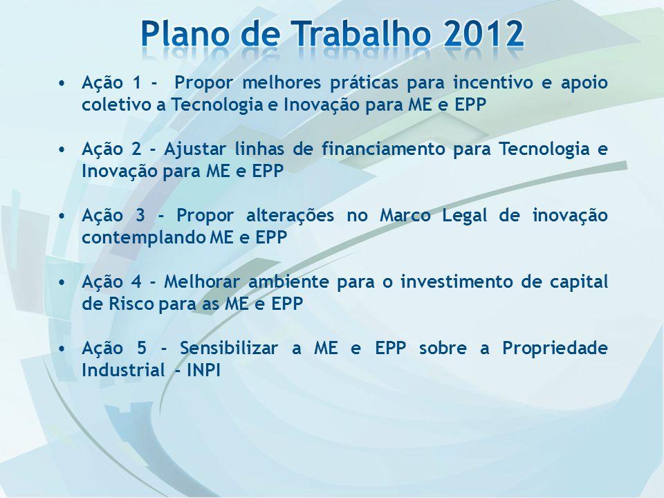 Ação 1 - Propor melhores práticas para incentivo e apoio coletivo a Tecnologia e Inovação para ME e EPP Ação 2 - Ajustar linhas de financiamento para Tecnologia e Inovação para ME e EPP Ação 3 - Propor alterações no Marco Legal de inovação contemplando ME e EPP Ação 4 - Melhorar ambiente para o investimento de capital de Risco para as ME e EPP Ação 5 - Sensibilizar a ME e EPP sobre a Propriedade Industrial - INPI