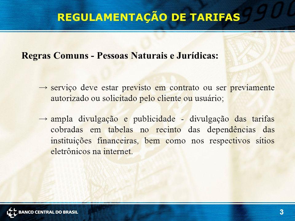 3 REGULAMENTAÇÃO DE TARIFAS Regras Comuns - Pessoas Naturais e Jurídicas: →serviço deve estar previsto em contrato ou ser previamente autorizado ou so