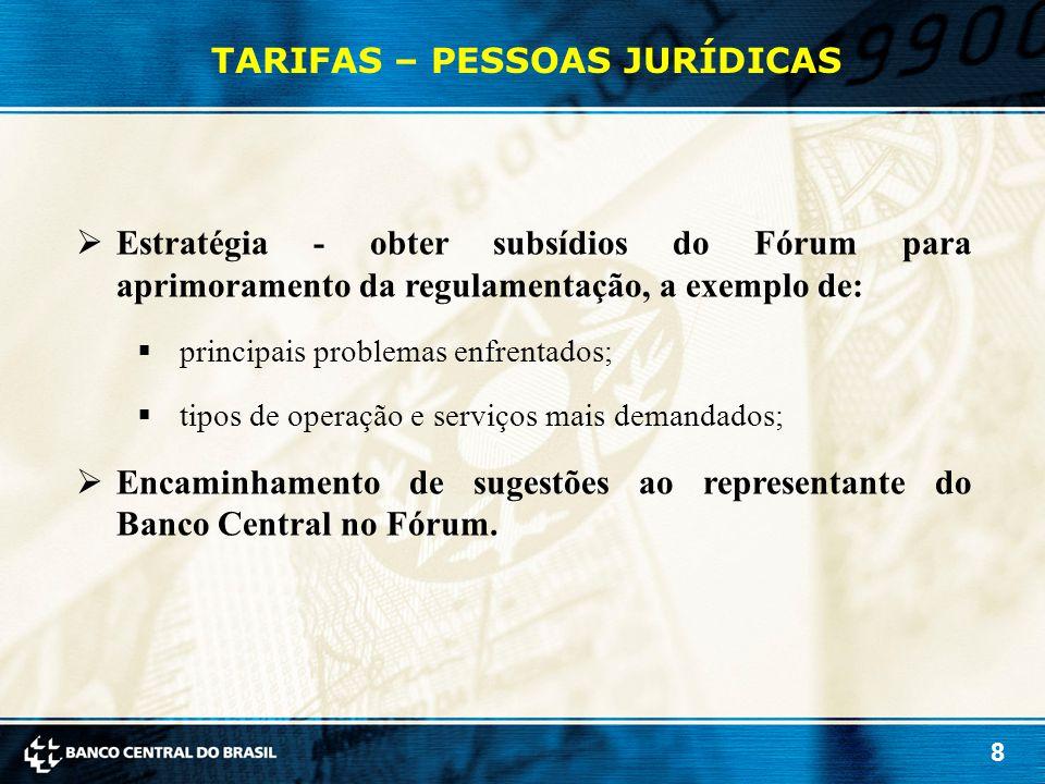 8 TARIFAS – PESSOAS JURÍDICAS  Estratégia - obter subsídios do Fórum para aprimoramento da regulamentação, a exemplo de:  principais problemas enfre