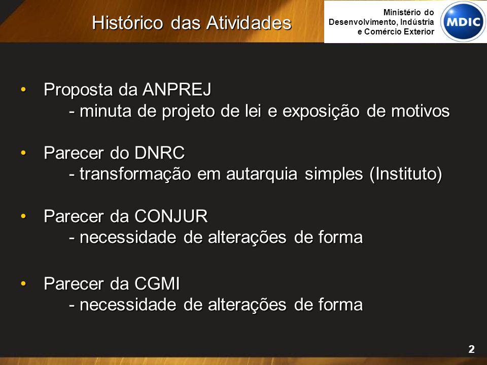 22 Proposta da ANPREJ Proposta da ANPREJ - minuta de projeto de lei e exposição de motivos Parecer do DNRC Parecer do DNRC - transformação em autarqui