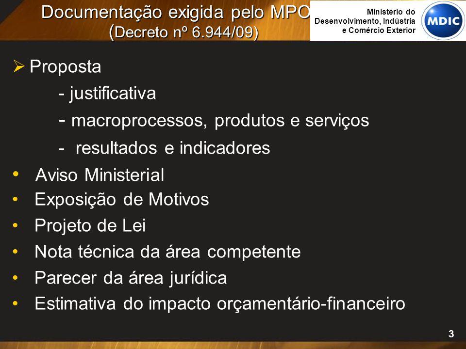 3 Documentação exigida pelo MPOG ( Decreto nº 6.944/09)  Proposta - justificativa - macroprocessos, produtos e serviços - resultados e indicadores Av