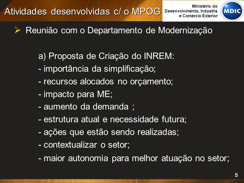 5  Reunião com o Departamento de Modernização a) Proposta de Criação do INREM: - importância da simplificação; - recursos alocados no orçamento; - im