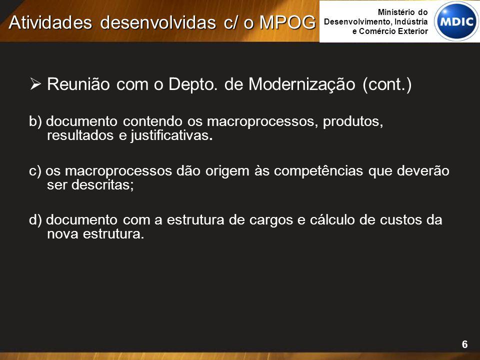 6  Reunião com o Depto. de Modernização (cont.) b) documento contendo os macroprocessos, produtos, resultados e justificativas. c) os macroprocessos
