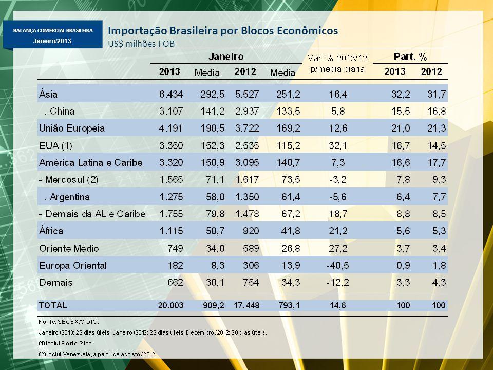 BALANÇA COMERCIAL BRASILEIRA Janeiro/2013 Importação Brasileira por Blocos Econômicos US$ milhões FOB