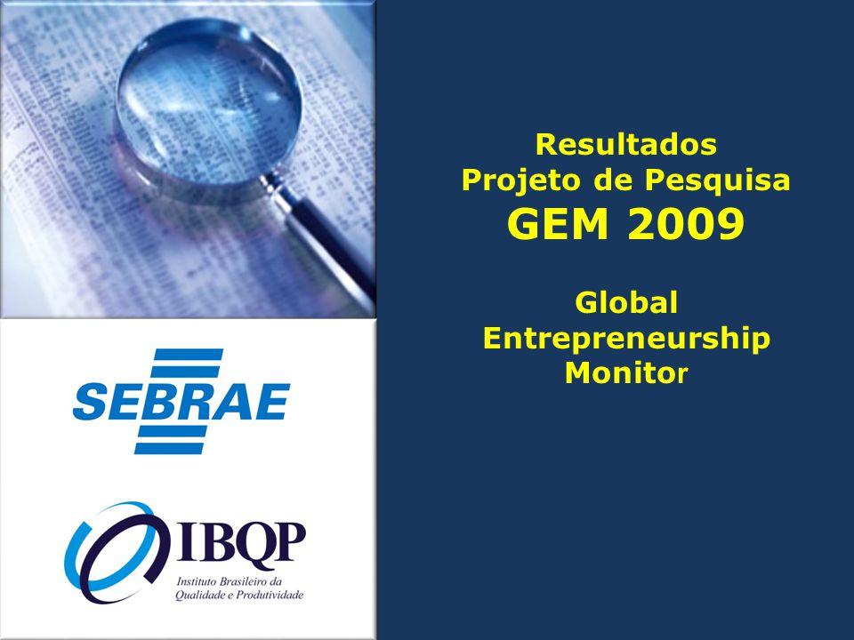 Resultados Projeto de Pesquisa GEM 2009 Global Entrepreneurship Monito r