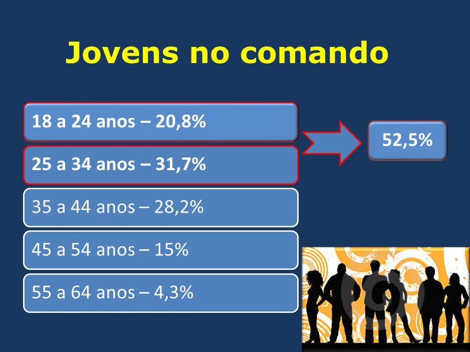 18 a 24 anos – 20,8%25 a 34 anos – 31,7%35 a 44 anos – 28,2%45 a 54 anos – 15%55 a 64 anos – 4,3% Jovens no comando 52,5%