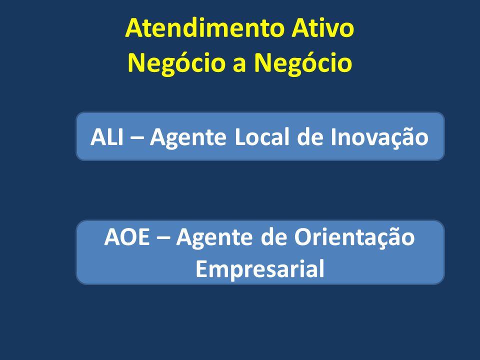 Atendimento Ativo Negócio a Negócio ALI – Agente Local de Inovação AOE – Agente de Orientação Empresarial