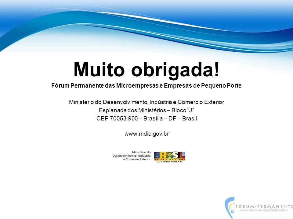 Muito obrigada! Fórum Permanente das Microempresas e Empresas de Pequeno Porte Ministério do Desenvolvimento, Indústria e Comércio Exterior Esplanada