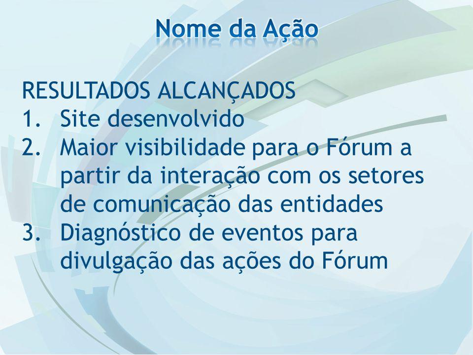 RESULTADOS ALCANÇADOS 1.Site desenvolvido 2.Maior visibilidade para o Fórum a partir da interação com os setores de comunicação das entidades 3.Diagnóstico de eventos para divulgação das ações do Fórum