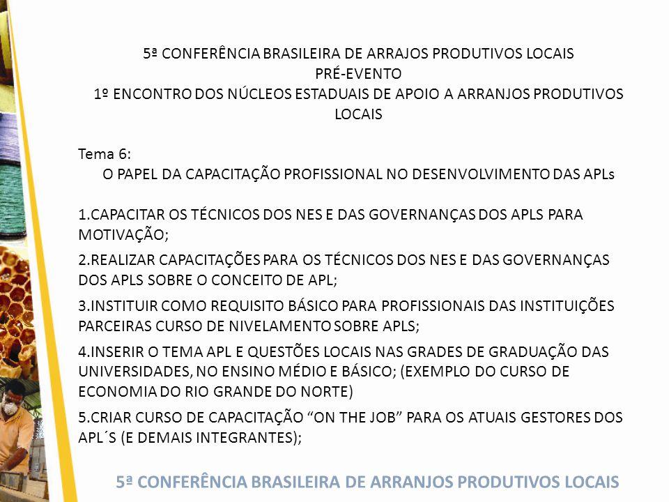 5ª CONFERÊNCIA BRASILEIRA DE ARRANJOS PRODUTIVOS LOCAIS 5ª CONFERÊNCIA BRASILEIRA DE ARRAJOS PRODUTIVOS LOCAIS PRÉ-EVENTO 1º ENCONTRO DOS NÚCLEOS ESTADUAIS DE APOIO A ARRANJOS PRODUTIVOS LOCAIS Tema 6: O PAPEL DA CAPACITAÇÃO PROFISSIONAL NO DESENVOLVIMENTO DAS APLs 1.CAPACITAR OS TÉCNICOS DOS NES E DAS GOVERNANÇAS DOS APLS PARA MOTIVAÇÃO; 2.REALIZAR CAPACITAÇÕES PARA OS TÉCNICOS DOS NES E DAS GOVERNANÇAS DOS APLS SOBRE O CONCEITO DE APL; 3.INSTITUIR COMO REQUISITO BÁSICO PARA PROFISSIONAIS DAS INSTITUIÇÕES PARCEIRAS CURSO DE NIVELAMENTO SOBRE APLS; 4.INSERIR O TEMA APL E QUESTÕES LOCAIS NAS GRADES DE GRADUAÇÃO DAS UNIVERSIDADES, NO ENSINO MÉDIO E BÁSICO; (EXEMPLO DO CURSO DE ECONOMIA DO RIO GRANDE DO NORTE) 5.CRIAR CURSO DE CAPACITAÇÃO ON THE JOB PARA OS ATUAIS GESTORES DOS APL´S (E DEMAIS INTEGRANTES);