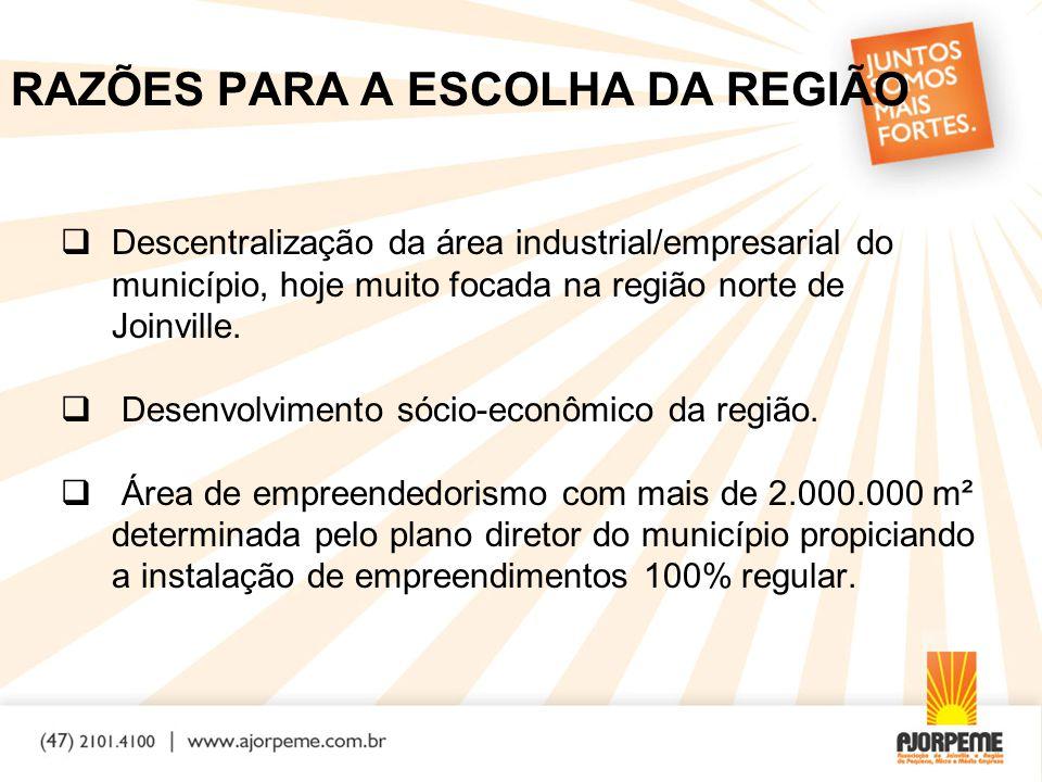 RAZÕES PARA A ESCOLHA DA REGIÃO  Descentralização da área industrial/empresarial do município, hoje muito focada na região norte de Joinville.