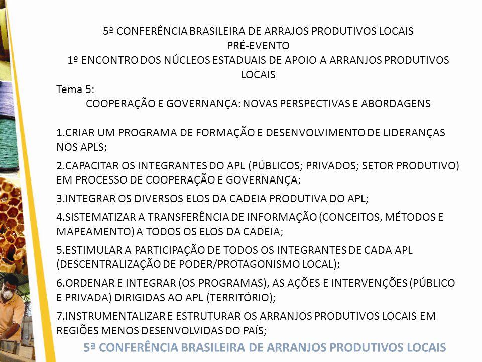 5ª CONFERÊNCIA BRASILEIRA DE ARRANJOS PRODUTIVOS LOCAIS 5ª CONFERÊNCIA BRASILEIRA DE ARRAJOS PRODUTIVOS LOCAIS PRÉ-EVENTO 1º ENCONTRO DOS NÚCLEOS ESTADUAIS DE APOIO A ARRANJOS PRODUTIVOS LOCAIS Tema 5: COOPERAÇÃO E GOVERNANÇA: NOVAS PERSPECTIVAS E ABORDAGENS 1.CRIAR UM PROGRAMA DE FORMAÇÃO E DESENVOLVIMENTO DE LIDERANÇAS NOS APLS; 2.CAPACITAR OS INTEGRANTES DO APL (PÚBLICOS; PRIVADOS; SETOR PRODUTIVO) EM PROCESSO DE COOPERAÇÃO E GOVERNANÇA; 3.INTEGRAR OS DIVERSOS ELOS DA CADEIA PRODUTIVA DO APL; 4.SISTEMATIZAR A TRANSFERÊNCIA DE INFORMAÇÃO (CONCEITOS, MÉTODOS E MAPEAMENTO) A TODOS OS ELOS DA CADEIA; 5.ESTIMULAR A PARTICIPAÇÃO DE TODOS OS INTEGRANTES DE CADA APL (DESCENTRALIZAÇÃO DE PODER/PROTAGONISMO LOCAL); 6.ORDENAR E INTEGRAR (OS PROGRAMAS), AS AÇÕES E INTERVENÇÕES (PÚBLICO E PRIVADA) DIRIGIDAS AO APL (TERRITÓRIO); 7.INSTRUMENTALIZAR E ESTRUTURAR OS ARRANJOS PRODUTIVOS LOCAIS EM REGIÕES MENOS DESENVOLVIDAS DO PAÍS;