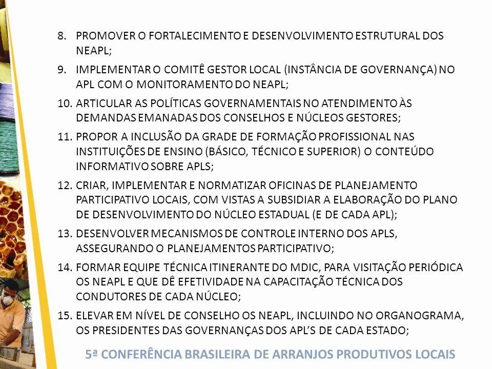 5ª CONFERÊNCIA BRASILEIRA DE ARRANJOS PRODUTIVOS LOCAIS 8.PROMOVER O FORTALECIMENTO E DESENVOLVIMENTO ESTRUTURAL DOS NEAPL; 9.IMPLEMENTAR O COMITÊ GESTOR LOCAL (INSTÂNCIA DE GOVERNANÇA) NO APL COM O MONITORAMENTO DO NEAPL; 10.ARTICULAR AS POLÍTICAS GOVERNAMENTAIS NO ATENDIMENTO ÀS DEMANDAS EMANADAS DOS CONSELHOS E NÚCLEOS GESTORES; 11.PROPOR A INCLUSÃO DA GRADE DE FORMAÇÃO PROFISSIONAL NAS INSTITUIÇÕES DE ENSINO (BÁSICO, TÉCNICO E SUPERIOR) O CONTEÚDO INFORMATIVO SOBRE APLS; 12.CRIAR, IMPLEMENTAR E NORMATIZAR OFICINAS DE PLANEJAMENTO PARTICIPATIVO LOCAIS, COM VISTAS A SUBSIDIAR A ELABORAÇÃO DO PLANO DE DESENVOLVIMENTO DO NÚCLEO ESTADUAL (E DE CADA APL); 13.DESENVOLVER MECANISMOS DE CONTROLE INTERNO DOS APLS, ASSEGURANDO O PLANEJAMENTOS PARTICIPATIVO; 14.FORMAR EQUIPE TÉCNICA ITINERANTE DO MDIC, PARA VISITAÇÃO PERIÓDICA OS NEAPL E QUE DÊ EFETIVIDADE NA CAPACITAÇÃO TÉCNICA DOS CONDUTORES DE CADA NÚCLEO; 15.ELEVAR EM NÍVEL DE CONSELHO OS NEAPL, INCLUINDO NO ORGANOGRAMA, OS PRESIDENTES DAS GOVERNANÇAS DOS APL'S DE CADA ESTADO;