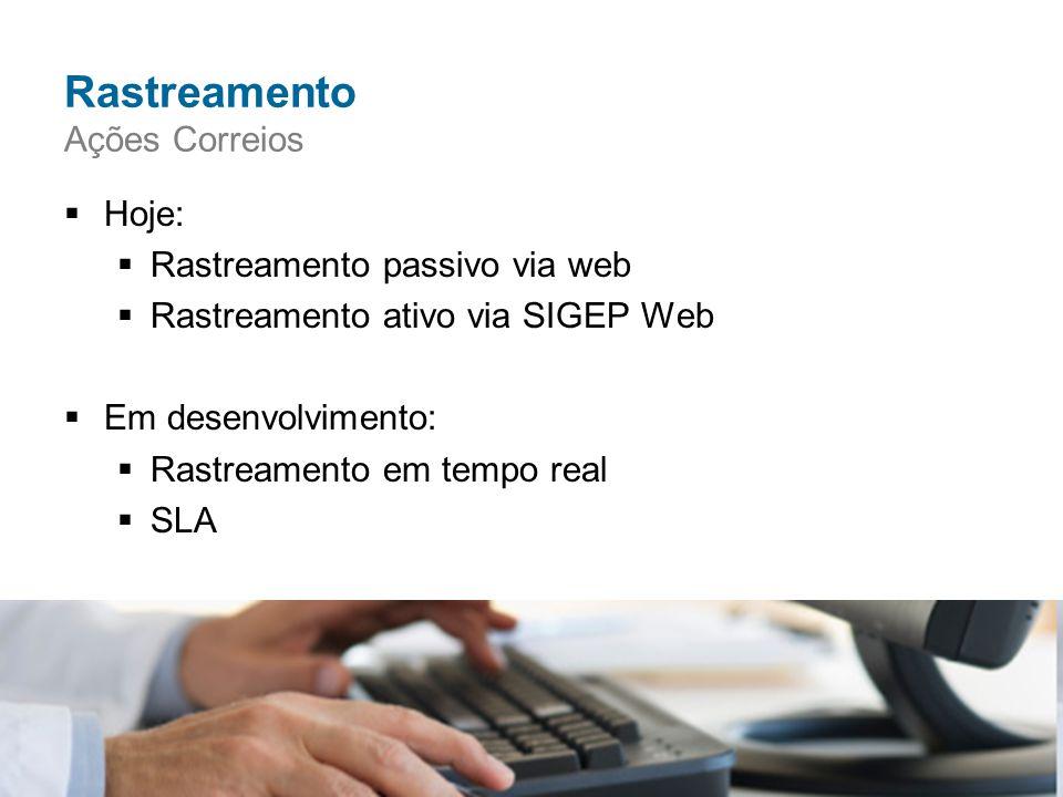  Hoje:  Rastreamento passivo via web  Rastreamento ativo via SIGEP Web  Em desenvolvimento:  Rastreamento em tempo real  SLA Rastreamento Ações