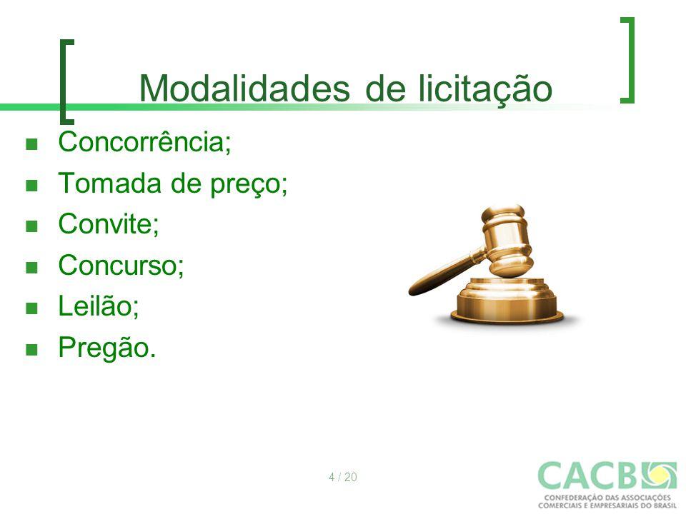Modalidades de licitação Concorrência; Tomada de preço; Convite; Concurso; Leilão; Pregão. 4 / 20