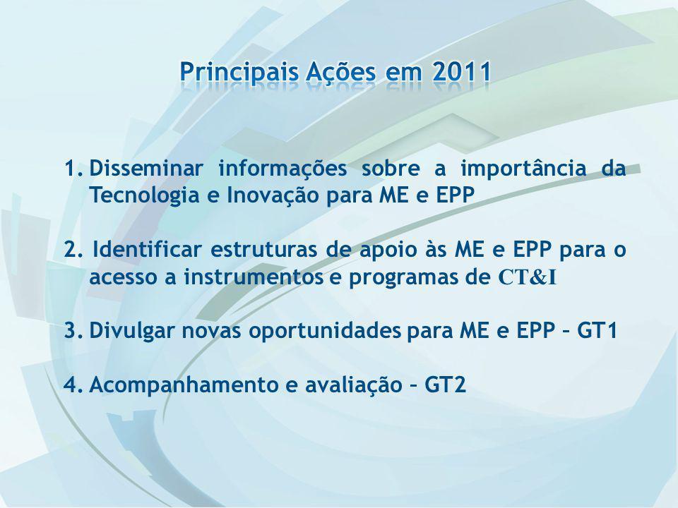 1.Disseminar informações sobre a importância da Tecnologia e Inovação para ME e EPP 2.