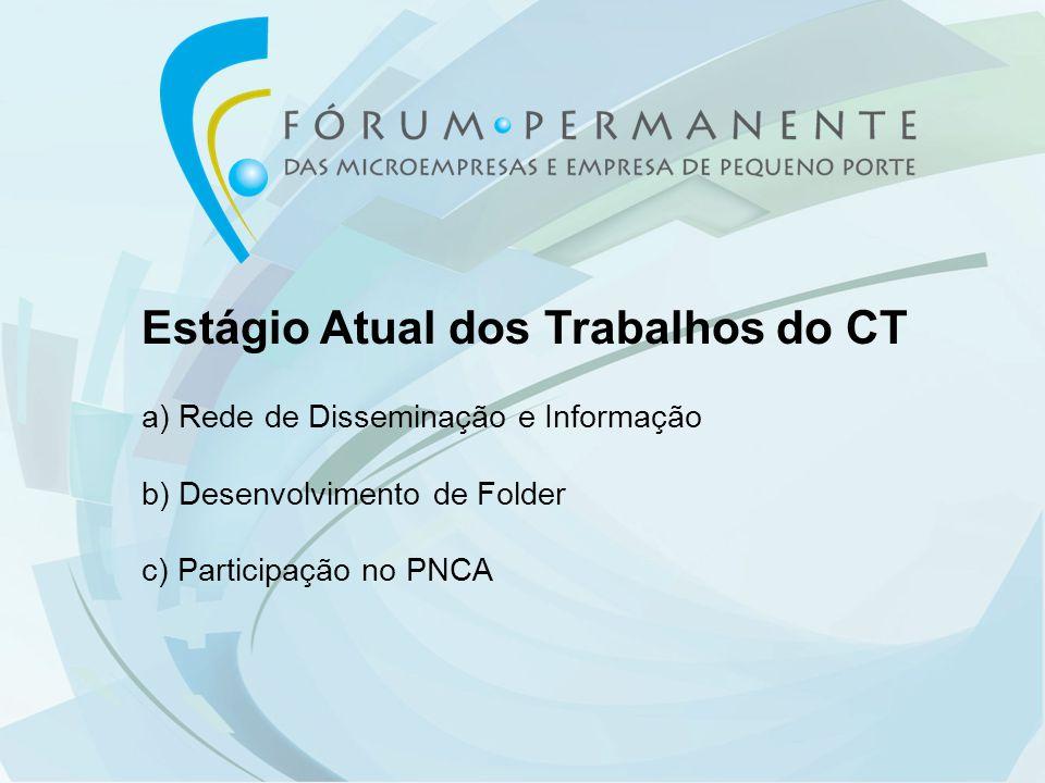 Estágio Atual dos Trabalhos do CT a) Rede de Disseminação e Informação b) Desenvolvimento de Folder c) Participação no PNCA