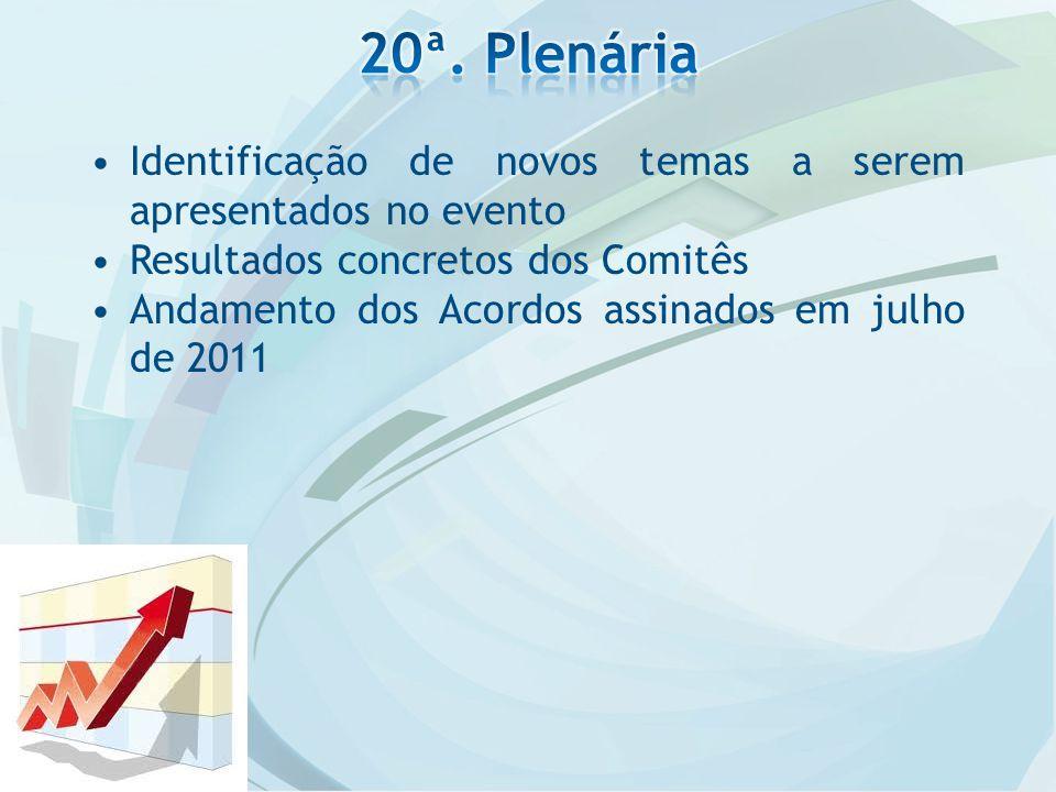 Identificação de novos temas a serem apresentados no evento Resultados concretos dos Comitês Andamento dos Acordos assinados em julho de 2011