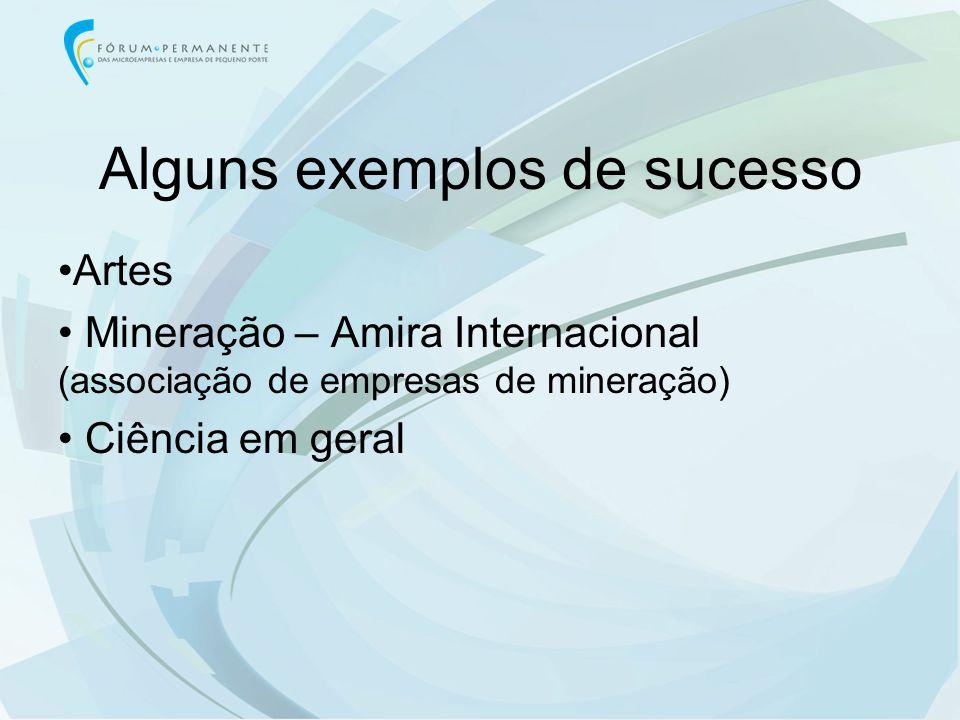 Alguns exemplos de sucesso Artes Mineração – Amira Internacional (associação de empresas de mineração) Ciência em geral