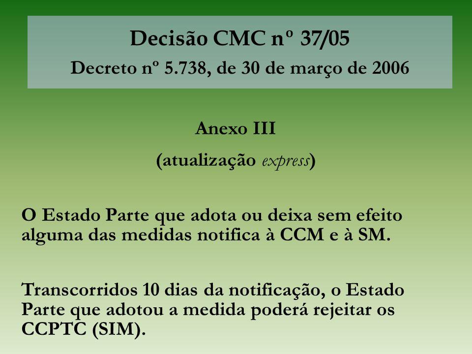 Decisão CMC nº 37/05 Decreto nº 5.738, de 30 de março de 2006 Anexo III (atualização express) O Estado Parte que adota ou deixa sem efeito alguma das