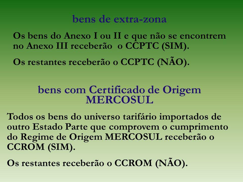 bens de extra-zona Os bens do Anexo I ou II e que não se encontrem no Anexo III receberão o CCPTC (SIM). Os restantes receberão o CCPTC (NÃO). bens co